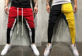 Ruggstar Branded cotton Casual Trackpant (White Red Black New+Black Yellow New) pack of 2