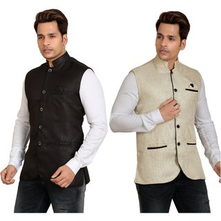 Combo of 2 Kandy Multicolor Regular Fit Nehru Jacket For Men