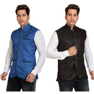 KANDY MENS NEHRU JACKETS FOR SET OF 2 BLACK BLUE