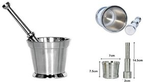 Evershine Heavy Stainless Steel Mortar and Pestle Set Spice Mixer for Khalbatta Kitchen ,Silver02