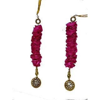 SABRANG HANDMADE DOOR HANGING Wall Hanging-Sabrang Fabric Satin- Dark Pink Ribbon Decorative -for Doors, Entrance, Walls