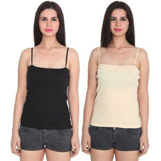 Women's And Girl's Adjustable Detachable Strap Camisole Combo Of 2
