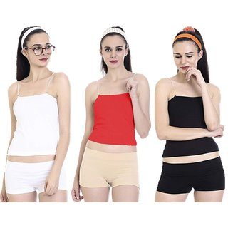 Women's And Girl's Transparent Adjustable Detachable Strap Camisole Combo Of 3