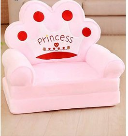 THE HOME STYLE Princess Soft Toy Chair  Sofa Cum Bed for Kids 0 to 4 Years (Pink)