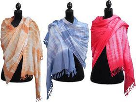 GL CREATION Pure Cotton Tye Dye Duppataah Scarf( Combo 3 colors Orange ,Grey,Pink )