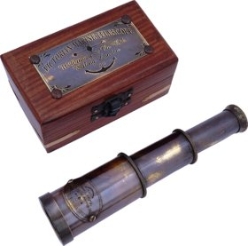 6 Antique Commando Nautical Victorian Marine Brass Telescope with Wood Box