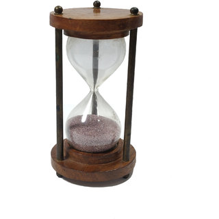 Antique Wooden and Brass Sand Timer Hour Glass Sandglass Clock Gola International