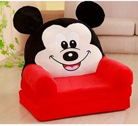 The Home Store Fibre Filling Mickey Mouse Soft Toy Chair Sofa Cum Bed for Kids (0 to 2 Years)