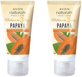 Avon Naturals Papaya Whitening Powdery Cream 50 g Each (Set of 2)
