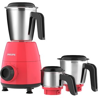 Philips HL7505/02 500-Watt Mixer Grinder with 3 Jars (Red)- Dry jar Chutney and Wet jar
