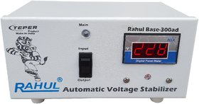 Rahul Base-300cd 300VA 140-280 Volt 3 Booster,Use a Maximum of 1.3 Amp Load This Digital Automatic Voltage Stabilizer