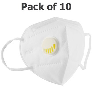 eAmaze KN95 Protective Face Mask with Filter Valve, N95 PM2.5 Filtration, Adjustable Nose Clip, 5 Layers (Pack of 10)