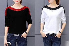 Vivient Women Black And White Shoulder T-shirt Combo of 2