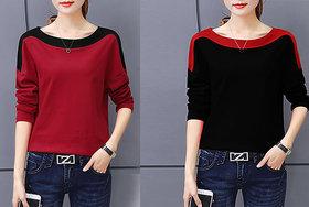Vivient Women Red And Black Shoulder T-shirt Combo of 2