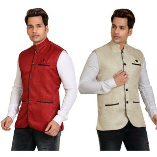 Combo of 2 Kandy Khaki & Red Regular Fit Nehru Jacket For Men