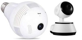 Buswick Hidden Small, Light Bulb with Wi-Fi, CCTV Security Led Light Camera With Wireless WiFi 3MP Security Camera .