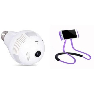 Buswick Hidden Small, Light Bulb with Wi-Fi, CCTV Security Led Light Camera With Lazy Stand Mobile Phone Holder