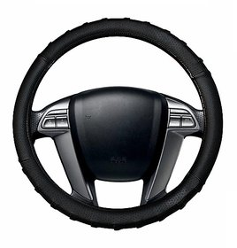 Auto Fetch Car Grippy SC106L Leatherette Car Steering Cover Black for Mahindra Bolero 8 Seater