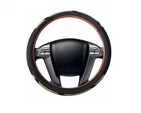 Auto Fetch Car Raptor SC107L Leatherette Car Steering Cover Brown & Beige for Hyundai Elite i20