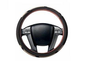 Auto Fetch Car Raptor SC107L Leatherette Car Steering Cover Brown & Beige for Hyundai I-20