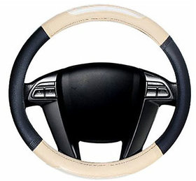 Auto Fetch Car Racing Leatherette Car Steering Cover Black & Beige for Toyota Etios