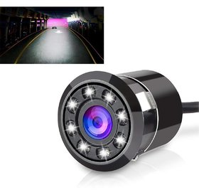 Auto Fetch 8LED Night Vision Car Reverse Parking Camera (Black) for Chevrolet Beat 2015 (New Model)