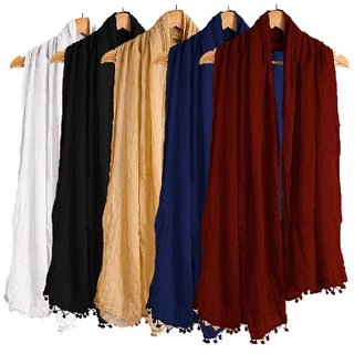 Women's and Girl's Cotton Dupatta Combo Of 5