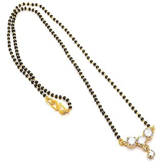 Molika American Diamond Studded Black Beads Alloy Chain Mangalsutra for Women