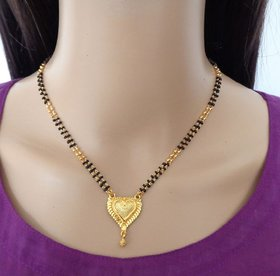 Gold Plated Chain Golden Vati Pendant Black and Gold Beads Long Mangalsutra fo