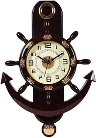 Generic Analog Acrylic Oval Brown Wall Clock 45 cm X 30 cm