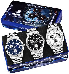 Espoir Analogue Combo Pack of 3 Watches Stainless Steel Multicolor Dial for Boy's  Men's Watch - Combo Es109,Espoir,Es1
