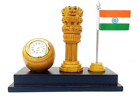 Wooden Table Clock with Ashoka Pillar and National Flag for Office