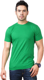 Ketex Men's Green Round Neck Synthetic Plain Tshirt