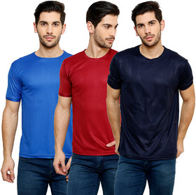 Grand Bear Men's Multicolor Round Neck T-Shirt (Pack of 3)