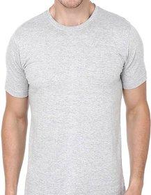 Grey Cotton Round Neck Plain T-Shirt for Men