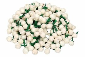 Artificial Mogra Buds/Jasmine Flower for Jewellery Making, Craft Material (App 250 Buds), Size 1 cm and Material Fabric