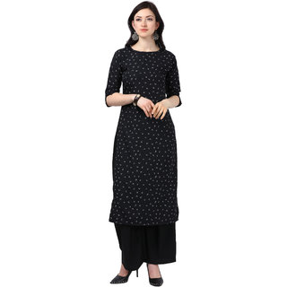 Florence Black Crepe Abstract Print Unstitched Dress Material