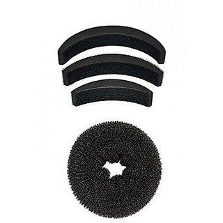 Homeoculture Pack of 1 medium size hair donut + set of 3 hair puff high volumizer banana bumpits