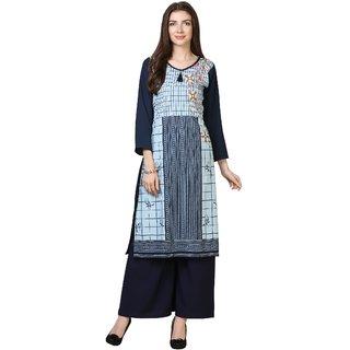 Vkaran Sky Blue Crepe Checkered Unstitched Dress Material