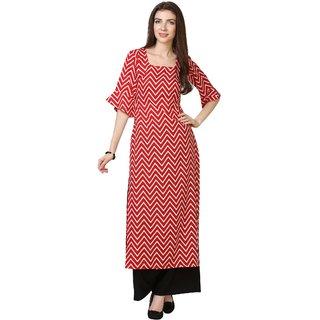 Vkaran Red Crepe Striped Unstitched Dress Material