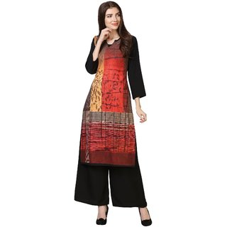 Saadhvi Red Crepe Abstract Unstitched Dress Material