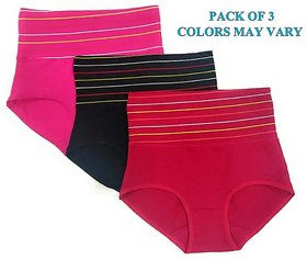 Rayyans (Pack of 3) Imported Women's Cotton Combed Spandex sexy High Waist Full Coverage Tummy Control Panty combo pack