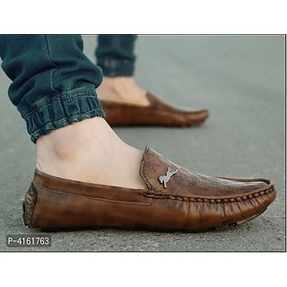 Big Horse Comfortable  Stylish Brown Loafers Shoe For Men