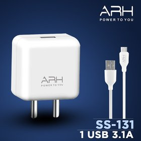 ARH SS-131 1 Port USB 3.1A Mobile Charger with 4 mm high Strenght Cable (Fast turbo Charger)