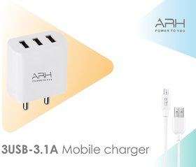 3.1 Amp Triple (3) Port Fast Charger Adapter with  with 4mm Micro USB Cable (White, FS-331) (6 Month Warranty)
