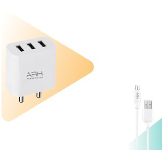 S4 3.1 Amp Triple (3) Port Fast Multi Pin Wall Charger with 4mm Micro USB Cable (White, FS-331) (6 Month Warranty)
