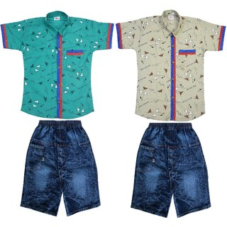 Boys Casual Cotton Twin Shirts  Jeans Shorts Combo (Set of 4)
