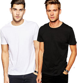 Shivsoft Pack of 2 Round Neck 100 cotton T-shirt - White and Black