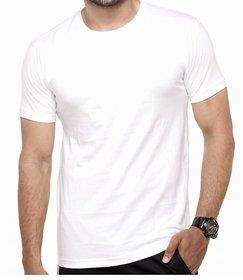 Round neck Plain White T-shirt For Men's