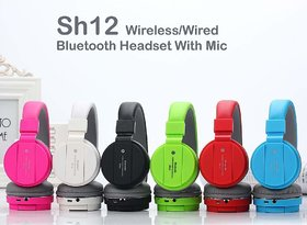 SH-12 Wireless Headphones Over the Ear Stretchable Foldable Bluetooth & inbuilt Microphone and SD Card Slot by Karnavati